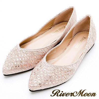 River&Moon大尺碼- 典雅側V開口皺褶晶鑽尖頭鞋-香檳金