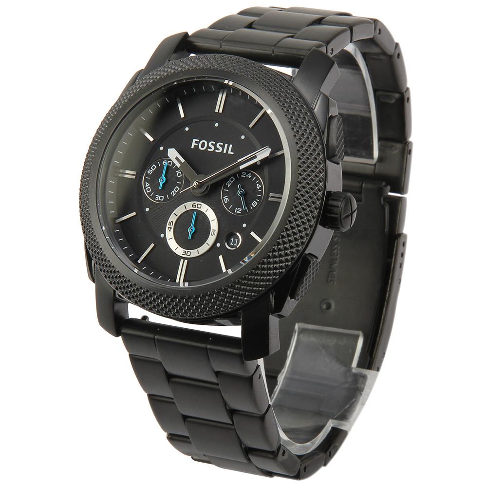 FOSSIL 黑色不鏽鋼三眼計時腕錶 -(FS4552)-46mm
