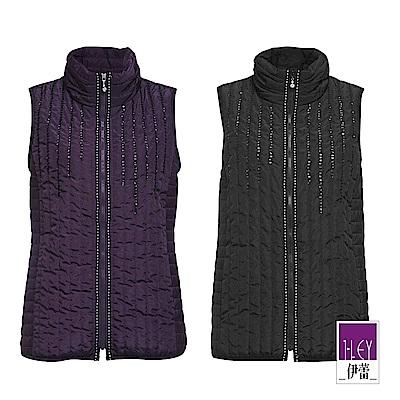 ILEY伊蕾 都會感車線裝飾亮片立領鋪棉外套(黑/紫)