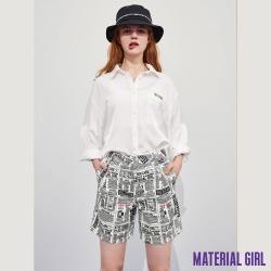 MATERIAL GIRL 牛仔中高腰直筒五分褲-美式報紙印花風 【92310】