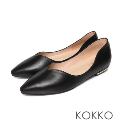 KOKKO無著感彎折方頭曲線羊皮平底鞋經典黑