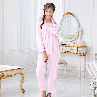 睡衣 彈性珍珠絲質 長袖兩件式睡衣(57203-2珍珠粉) 台灣製造 蕾妮塔塔