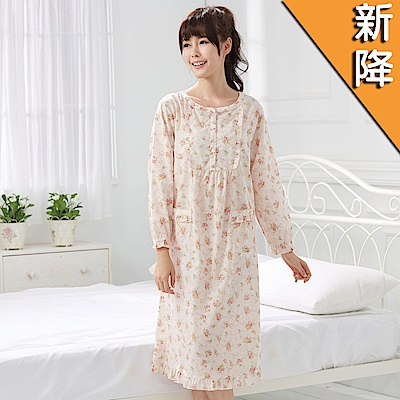 華歌爾睡衣-精梳棉 M-L 長袖睡衣裙裝(橘舒適睡衣-柔膚手感