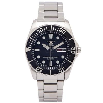 SEIKO SPORTS款的機械手錶(SNZF17J1)-黑面X黑色框/40mm