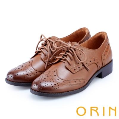 ORIN 中性雅痞 雙色蠟感雕花牛皮綁帶牛津鞋-棕色