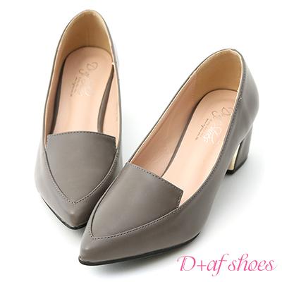 D+AF 知性風格.素面金屬跟尖頭跟鞋*灰