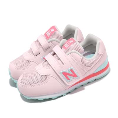 New Balance 休閒鞋 IV574GCP W 寬楦 童鞋 紐巴倫 經典款 魔鬼氈 穿搭 小童 粉 綠