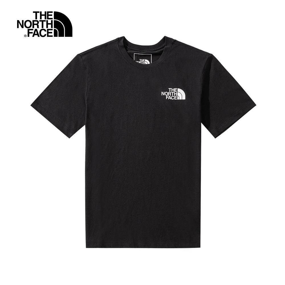 The North Face北面男女款黑色後背標語印花設計短袖T恤|4UCGWZY