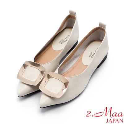 2.Maa 簡約飾扣素面尖頭包鞋 - 米