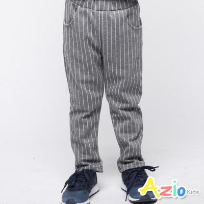 Azio Kids 男童 長褲 素色直條紋彈性直筒長褲 (灰)