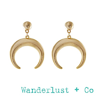 Wanderlust+Co下弦月耳環 - 金色