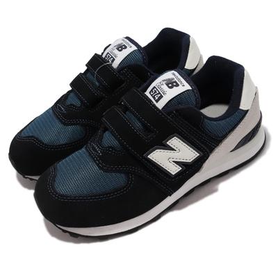 New Balance 休閒鞋 574 W 寬楦 魔鬼氈 童鞋 紐巴倫 麂皮 親子鞋穿搭 中童 藍 灰 PV574BD1-W