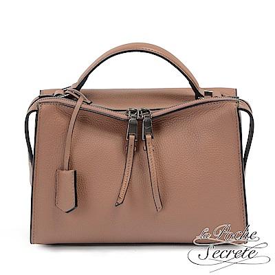 La Poche Secrete 側背包 真皮皮飾流蘇垂墜包-氣質棕