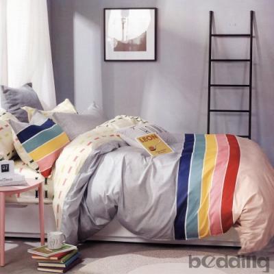 BEDDING-100%棉單人全鋪棉床包兩用被套三件組-北海道-灰