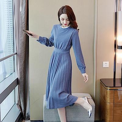DABI 韓國風時尚簡約側邊釦百褶裙收腰氣質長袖洋裝