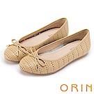 ORIN 時尚甜心 牛皮幾何三角沖孔平底娃娃鞋-黃色