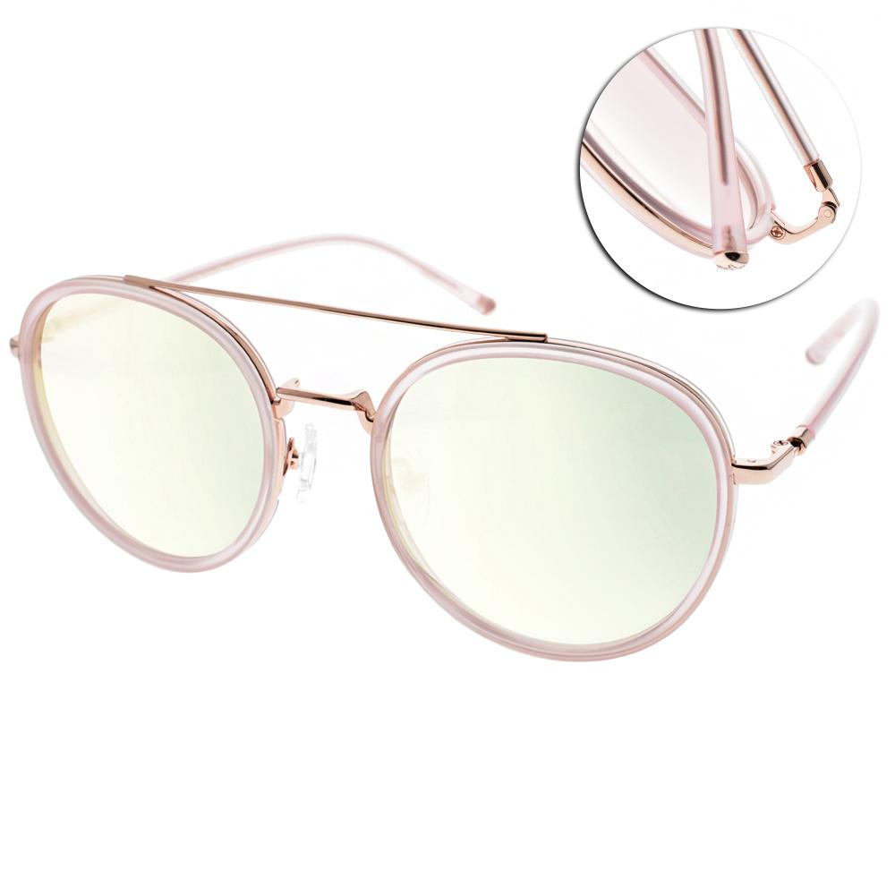 CARIN水銀太陽眼鏡 秀智代言 雙槓復古圓框款/透粉金 #ROMY C2
