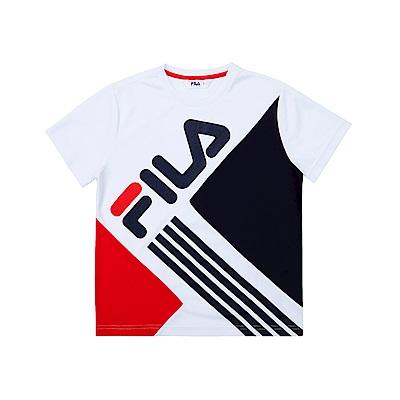 FILA KIDS 童吸濕排汗短袖上衣-白色 1TET-4425-WT