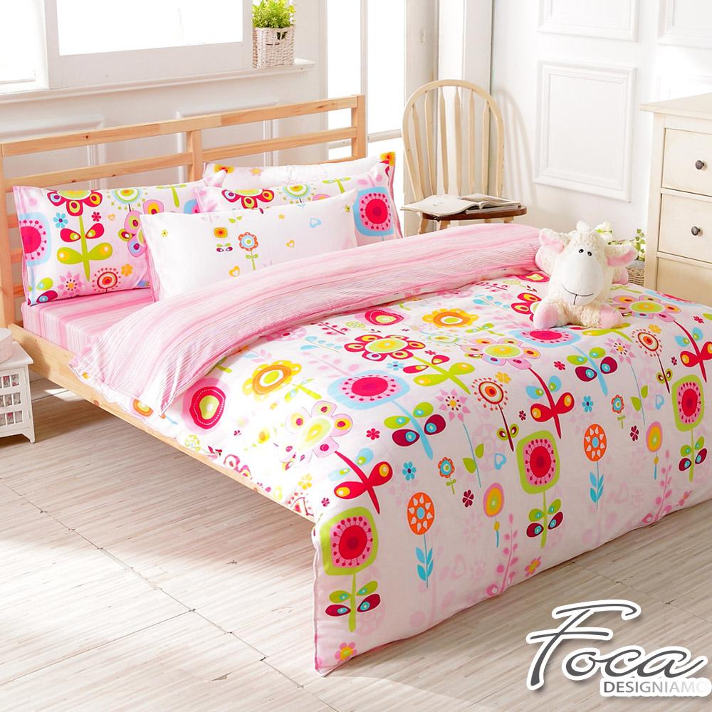 FOCA陽光花語-雙人-100%精梳純棉四件式兩用被床包組