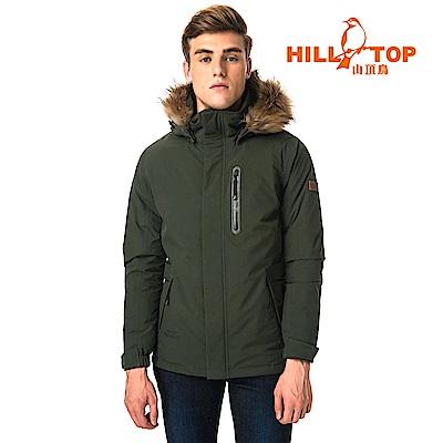 【hilltop山頂鳥】男款WINDSTOPPER防小雨羽絨短大衣F22MX6綠