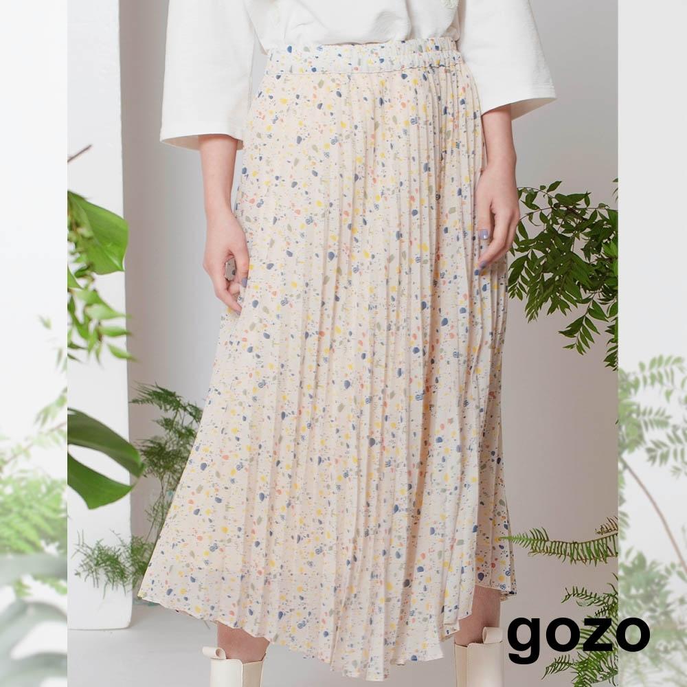 gozo-雪紡碎花百褶裙(兩色)