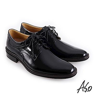 A.S.O職場通勤 霸足氣墊防潑水綁帶紳士鞋-黑