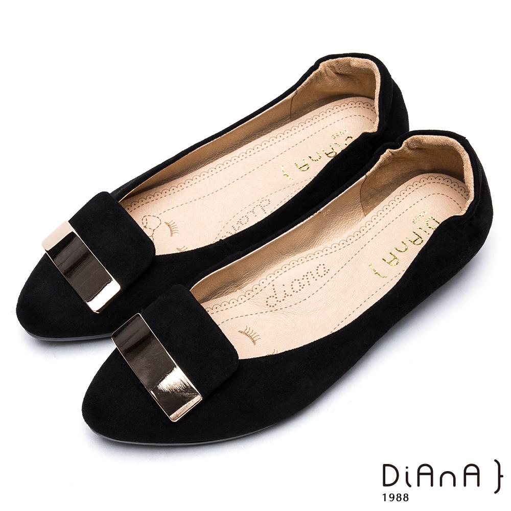 DIANA金屬片絨布拼接尖頭平底鞋-漫步雲端厚切焦糖美人-黑