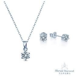 Alesai 艾尼希亞鑽石 50分鑽石項鍊&30分耳環 六爪款套組