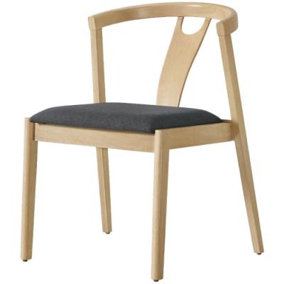 文創集 貝洛卡北歐風棉麻布實木餐椅(純粹木語系列)-50x59x77cm免組