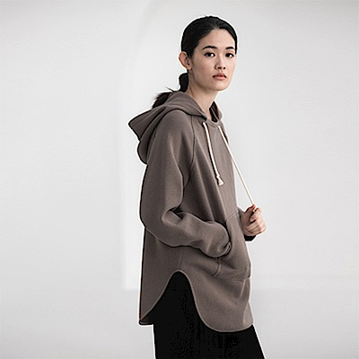 旅途原品_滄海_原創設計全棉寬鬆連帽休閒衛衣-咖啡/白