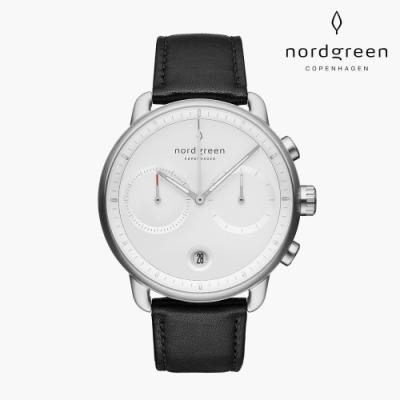 Nordgreen Pioneer 先鋒 月光銀系列 極夜黑真皮錶帶手錶 42mm