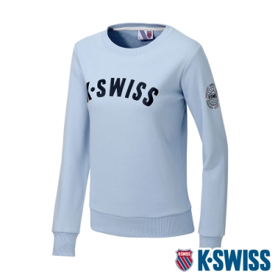 K-SWISS Curve KS Logo Sweatshirt刷毛圓領上衣-女-天藍
