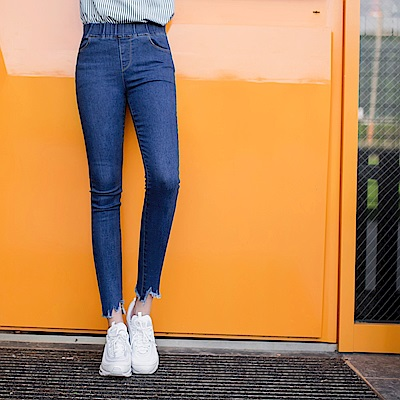 個性鬚邊褲管造型彈性窄管牛仔褲-OB嚴選