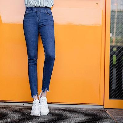 個性鬚邊褲管造型彈性窄管牛仔褲-OB大尺碼
