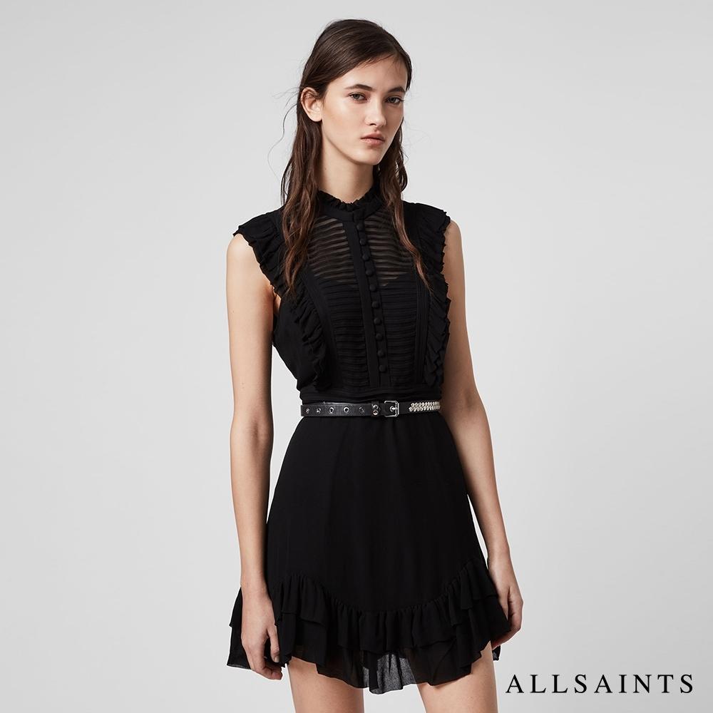 ALLSAINTS LOLA 絲質透膚荷葉邊不對稱下擺無袖短版洋裝-黑