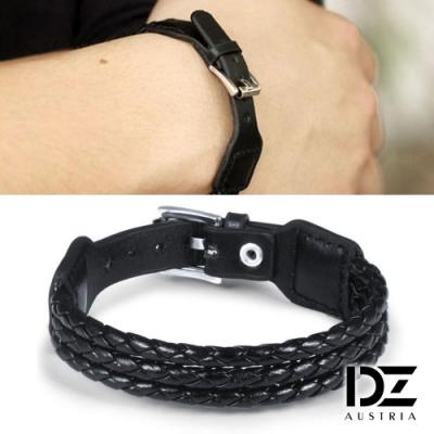 DZ 後調整扣帶 牛皮編織手環手鍊(黑系)