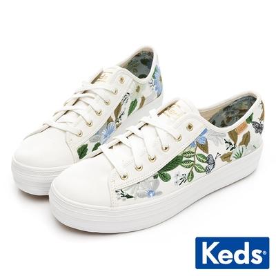 Keds x Rifle Paper 聯名款-TRIPLE KICK 復古花卉厚底帆布鞋-白