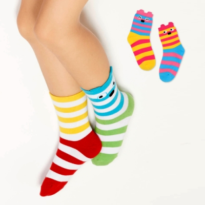 WHY AND 1/2 mini 普普熊條紋短襪 多色可選