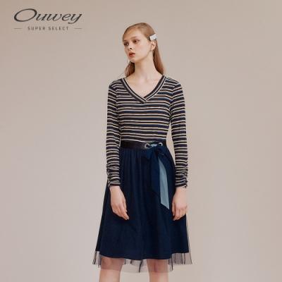 OUWEY歐薇 俏麗條紋V領針織拼接洋裝(藍)