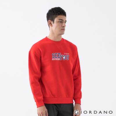 GIORDANO 男裝YOUTH大學T恤 - 11 烈焰紅