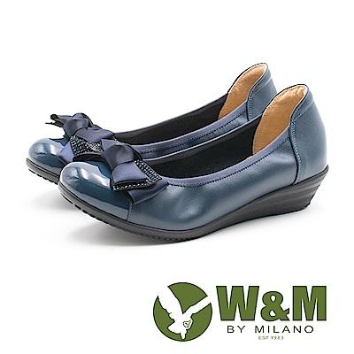 W&M 淑女蝴蝶結 圓頭彈力帶牛皮低跟鞋 女鞋-深藍(另有黑)