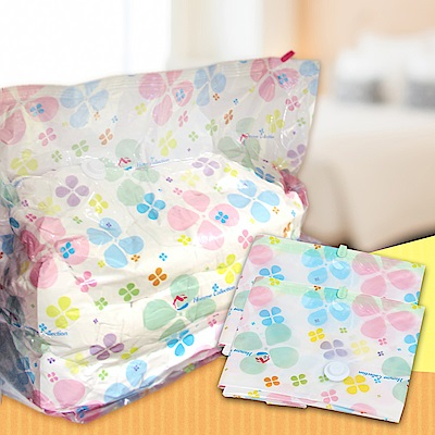 EZlife3D防塵潮彩印壓縮收納袋6入組(100*100*40cm)贈24衣夾收納盤