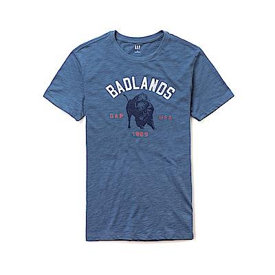 GAP 圖案文字設計短袖T恤-藍色