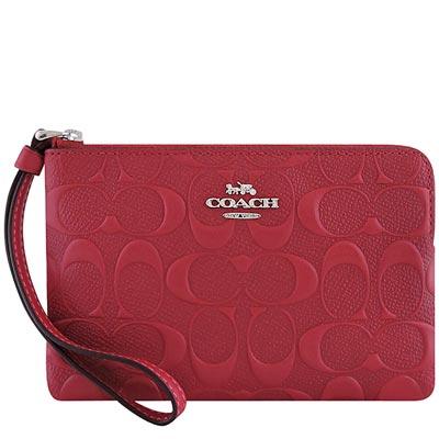 COACH 紅色皮革大C立體浮雕手拿包