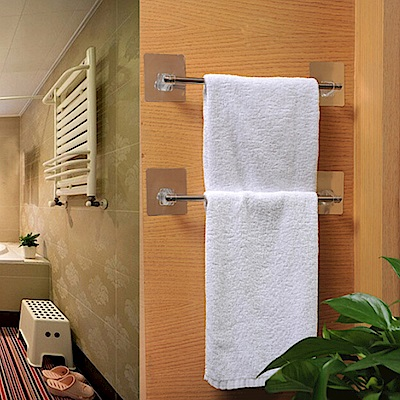 E.dot 魔力無痕廚浴單桿不鏽鋼抹布/毛巾架