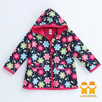 【LOVEDO-艾唯多童裝】繽紛花朵 連帽防水風衣外套(深藍)