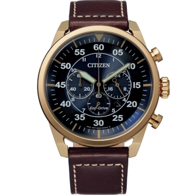 CITIZEN 光動能飛行風格計時男錶(CA4213-26L)45mm