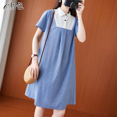 初色  寬鬆條紋拼接連身裙-藍色-(M-2XL可選)