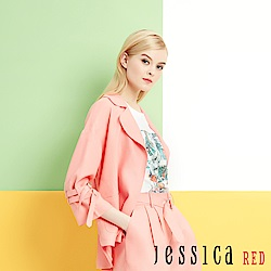 JESSICA RED - 粉橘亞麻釦環造型休閒西裝外套