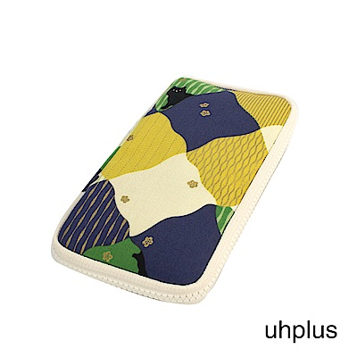 uhplus 夾心收納包-春日和?貓(綠)